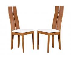 Stuhl 2er-Set Holz massiv Salena - Holzfarben