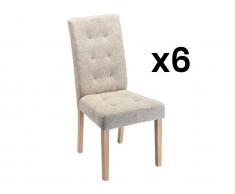 Stuhl 6er-Set VILLOSA - Stoff & Holz - Beige