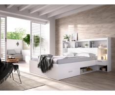 Bett mit Stauraum & integrierten Nachttischen KEVIN - 140 x 190 cm - Weiß