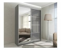 Kleiderschrank mit Spiegel YELENA - 2 Schiebetüren - Breite: 160cm