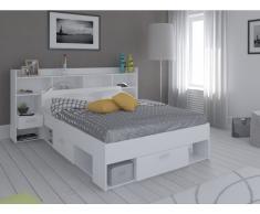 Holzbett mit Stauraum Kylian - 140x190cm oder 140x200cm - Weiß