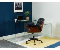 Bürostuhl TIMO - Höhenverstellbar - Kunstleder & Furnierholz - Schwarz