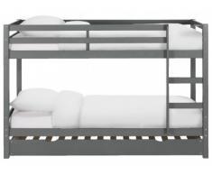 Etagenbett Ausziehbett Massivholz ANICET + Lattenrost - 3x90x200cm