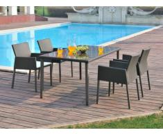 Polyrattan Essgruppe Manaos: Gartensessel + Tisch (5-tlg.)