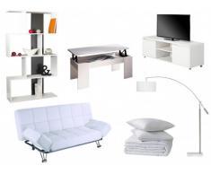 Sparset ESPO: Klappsofa ESPO - Weiß + Couchtisch + TV-Möbel + Regal + Stehleuchte + Bettdecke + 2 Kopfkissen