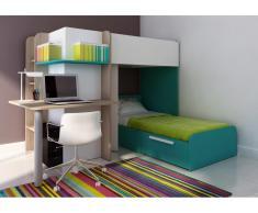 Kinderbett Hochbett Samuel inkl.Schreibtisch - 2x 90x190cm - Türkisblau