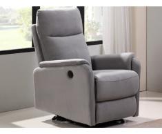 Relaxsessel Fernsehsessel elektrisch ONESTI - Stoff - Hellgrau