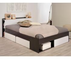 PARISOT Bett mit Stauraum Most - Verstellbar 140x190cm bis 140x200cm - Braun