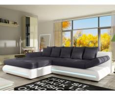 XXL-Ecksofa Big Sofa Schlafsofa Stoff mit LED-Leiste Mattias - Weiß/Grau - Ecke links