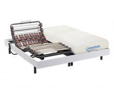 Matratzen elektrischer Lattenrost 2er-Set mit Viscoschaum und Okin-Motor DIONYSOS von DREAMEA - Weiß - 2x90x200 cm
