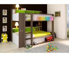 Hochbett mit Regal DORIAN - 2x90x190cm - Grün
