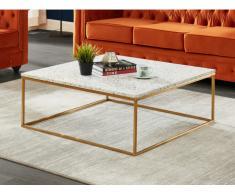 Couchtisch Design Terrazzo & Metall ARETHA - Gold/Weiß