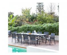 Garten-Essgruppe NAURU - Aluminium - Tisch ausziehbar B 220/300 cm & 10 stapelbare Sessel