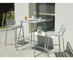 Gartenbar Metall MIRMANDE & 2 Barhocker stapelbar - Grau