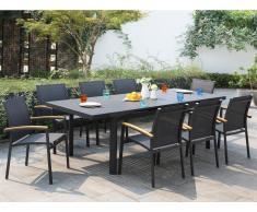 Garten Essgruppe Aluminium NAURU - Tisch ausziehbar 180/240 cm & 8 Stühle - Anthrazit
