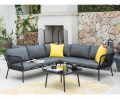 Garten Sitzgruppe ACCRA - Aluminium & Bast: Ecksofa & Beistelltisch