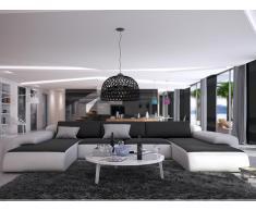 XXL Wohnlandschaft U-Form Sicile - Schwarz & Weiß