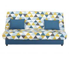 Schlafsofa Klappsofa mit Bettkasten Saloon - Motiv Triangle Blau