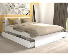 Bett mit Stauraum EUGENE - 140x190cm - Weiß