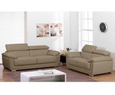 Couchgarnitur Leder 3+2 MISHKA - Beige