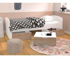 Bett LOUANE - 3 Schubladen - 90 x 190 cm - Weiß & Eiche