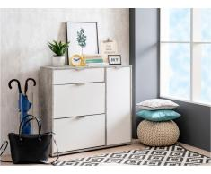 Schuhschrank Schuhkipper ARIETTA - Weiß/Beton-Optik