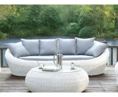 Polyrattan Gartensofa 3-Sitzer Whiteheaven - Weiß & Grau