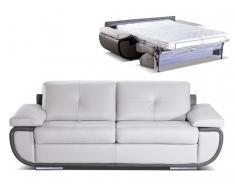 Schlafsofa mit Matratze 3-Sitzer Leder ORGULLOSA II - Luxusleder - Grau