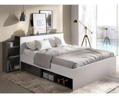 Bett mit Stauraum & Schubladen FLORIAN - 140x190 cm - Weiß & Anthrazit