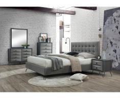Sparset COSTANZA: Bett 160x200 cm & 2 Nachttische - Grau