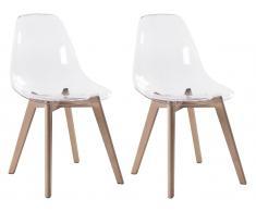 Stuhl 2er-Set AUDRA - Polycarbonat & Buche - Transparent