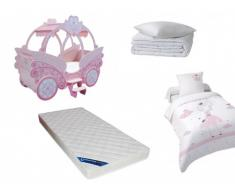 Sparset Kinderzimmer: Kinderbett PRINZESSIN + Lattenrost + Matratze + Bettdecke + Kopfkissen