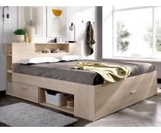 Bett mit Stauraum & Schubladen LEANDRE - 140x190 cm - Eichenholzfarben
