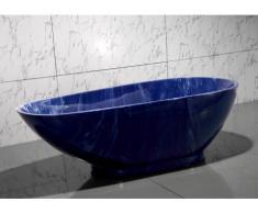 Freistehende Badewanne Marmor-Optik MARBELA - 180x85x58cm - Blau