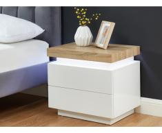 Nachttisch mit LED-Beleuchtung HALO - 2 Schubladen - Weiß & Eiche