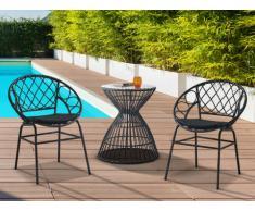 Garten Sitzgruppe Polyrattan SOUGIA - Tisch & 2 Stühle - Schwarz