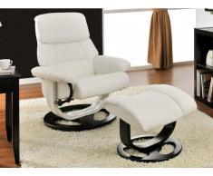Relaxsessel Fernsehsessel Leder Myosotis + Fußhocker - Weiß