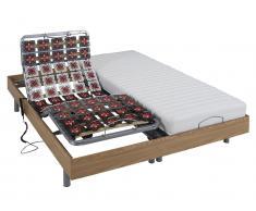 Matratzen elektrischer Lattenrost 2er-Set mit Okin-Motor CASSIOPEE III - Eichenholzfarben - 2x 90x200 cm