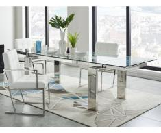 Esstisch Glas LUBANA - Ausziehbar - Metallic