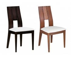 Stuhl 6er-Set Holz massiv Kalanna - Wengefarben