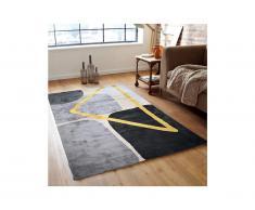 Teppich moderner Stil PICADILLY - 160 x 230 cm - Grau, Schwarz & Goldfarben