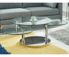 Couchtisch mit drehbaren Tischplatten WESLEY - Glas & Stahl