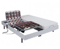 Matratzen elektrischer Lattenrost 2er-Set mit Okin-Motor CASSIOPEE III - Weiß - 2x 80x200 cm