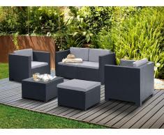 Garten Sitzgruppe Kunstharz SOPHIE II: 2-Sitzer-Sofa, 2 Sessel, Sitzhocker + Couchtisch