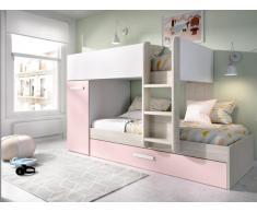 Etagenbett Ausziehbett ANTHONY mit Stauraum - 3 x 90 x 190 cm - Weiß, Eiche & Rosa