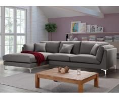 SALE - Ecksofa Stoff Flake Grau - Ecke Links