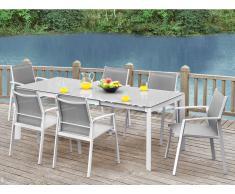 Gartenmöbel Essgruppe Aluminium PALAOS (7-tlg.) - Grau: Ausziehbarer Esstisch + 6 Sessel
