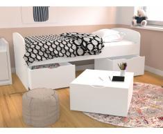 Bett LOUANE - 3 Schubladen - 90 x 190 cm - Weiß