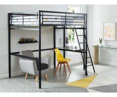 Set Hochbett mit Schreibtisch CASUAL II + Matratze - 140x190cm - Anthrazit
