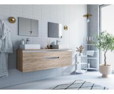 Komplettbad mit Doppelwaschbecken & Spiegeln JIMENA - Eichefarben